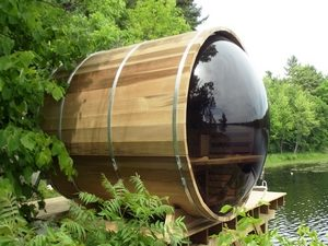 Barrelsauna in de tuin