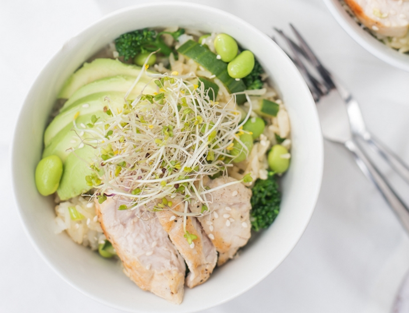 groene rijst salade met wasabi