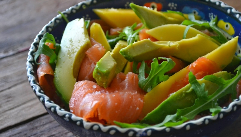 Salade met Krab, mango en Wasabi-Yuzu mayonaise