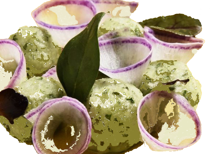 Wasabi dessert ijs met munt en shiso
