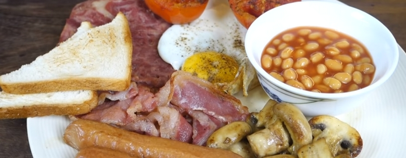traditional English breakfast, warm ontbijten is zo gek nog niet