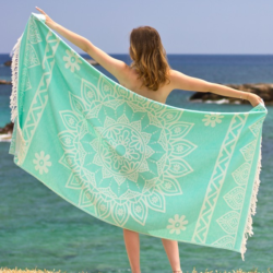 Hamamdoek (peştemal) met mandala motief, Bohemian Green of sea. Fashion4Wellness