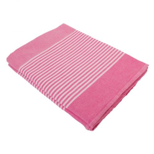 Hamamdoek (peştemal) Deniz pink candy, zonder fringes (kwastjes) extra lang van het merk Fashion4Wellness