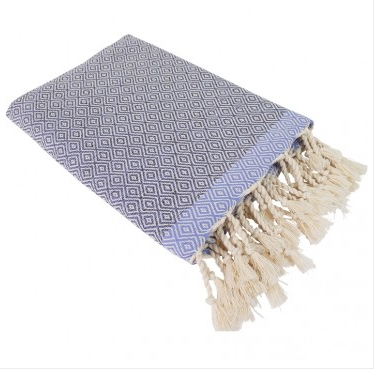 Hamamdoek (peştemal) Double Diamond grey-lilac met twee weefpatronen van Fashion4Wellness