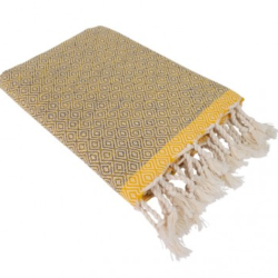 Hamamdoek (peştemal) Double Diamond grey-yellow met twee weefpatronen van Fashion4Wellness