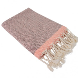 Hamamdoek (peştemal) Double Diamond grey-peach met twee weefpatronen als een dubbele diamant. Merk Fashion4Wellness