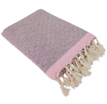 Hamamdoek (peştemal) Double Diamond grey-pink van het merk Fashion4Wellness